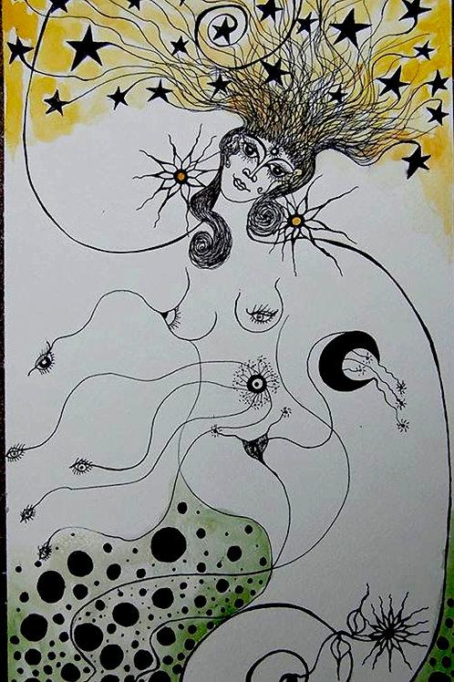 star woman by Mona Moon Art Print abstract Original watercolour