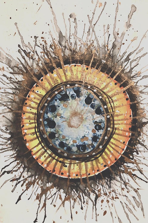 Mandala Sun by Mona Moon Art Print abstract Original watercolou