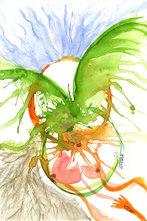 Psique and Eros   by Mona Moon Art Print abstract Original watercolour