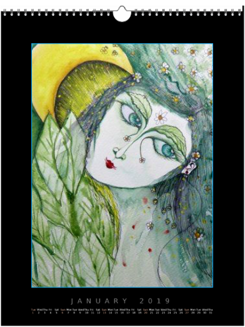 Moon Girl by Mona Moon - Art Print Figurative Original  Exclusive Creative