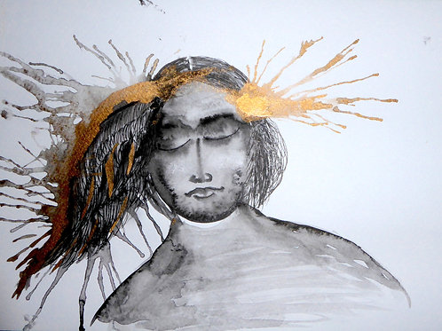 Icarus portrait by Mona Moon Art Print abstract Original watercolour