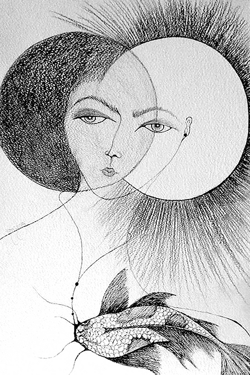 Eclipse by Mona Moon Art Print figurative Original drawing