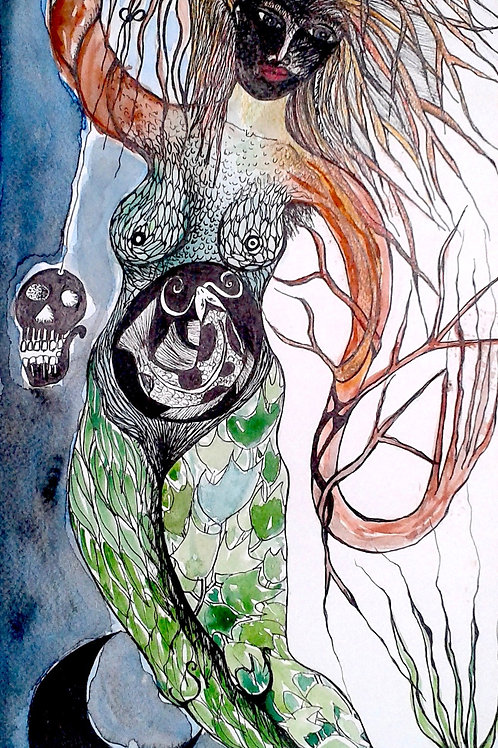 Roots of Life by Mona Moon Art Print figurative watercolour
