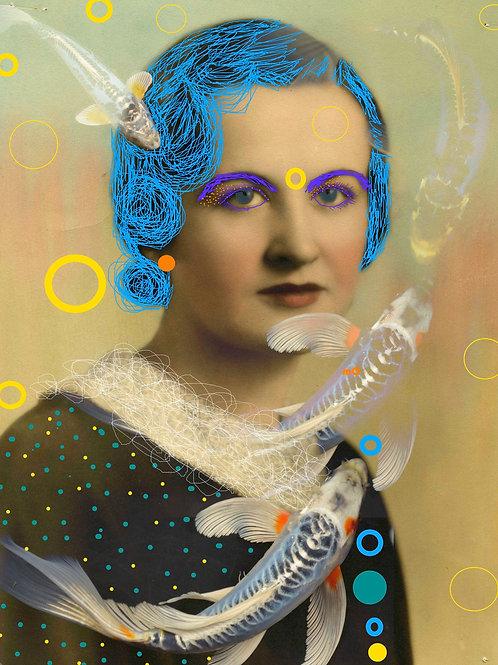 Vintage Lady by Mona Moon Art Print figurative Original digital art