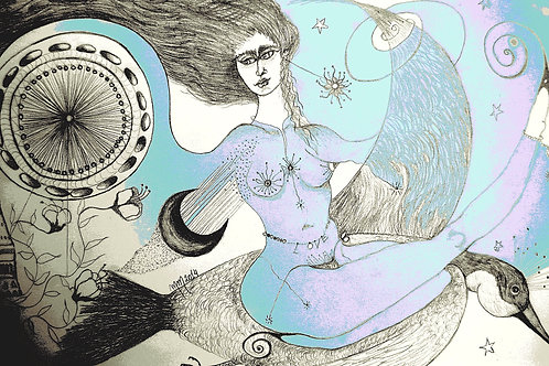 London Lady  by Mona Moon Art Print figurative Original pen on paper