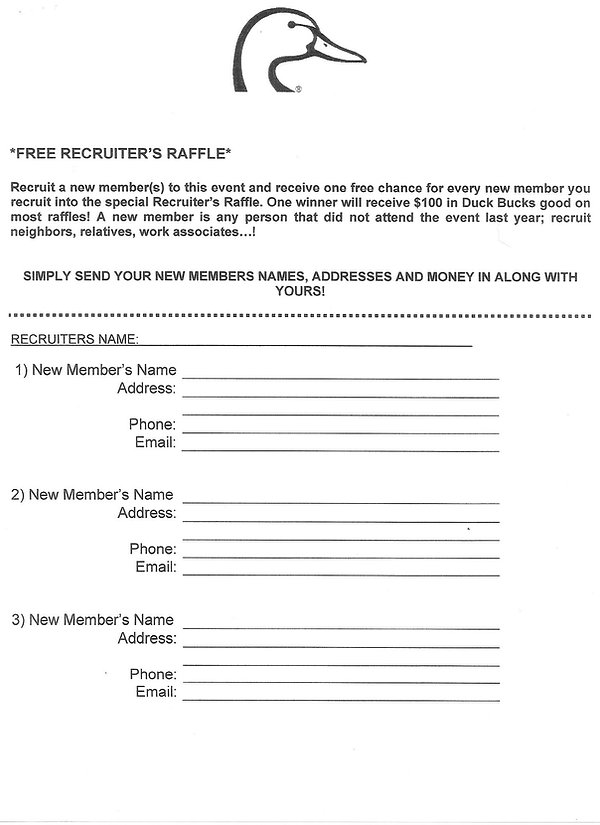 Ducks Unlimited Recruiter's Form