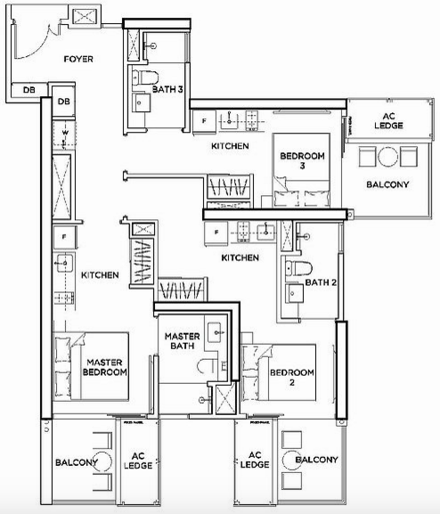 Floorplan of a TRIO Unit in Gem Residences.
