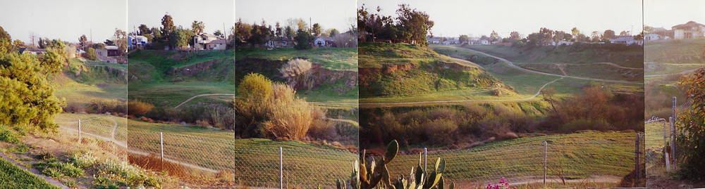 L. to R.: view from Republic across to homes on Evergreen, Dogwood, and Whittier before grading.