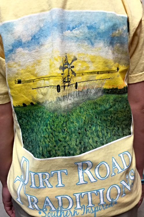 #1028 Adult Short Sleeve Yellow Crop Duster
