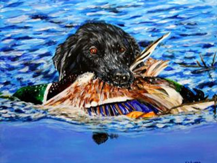 #3005 Black Lab/Duck in Mouth Print