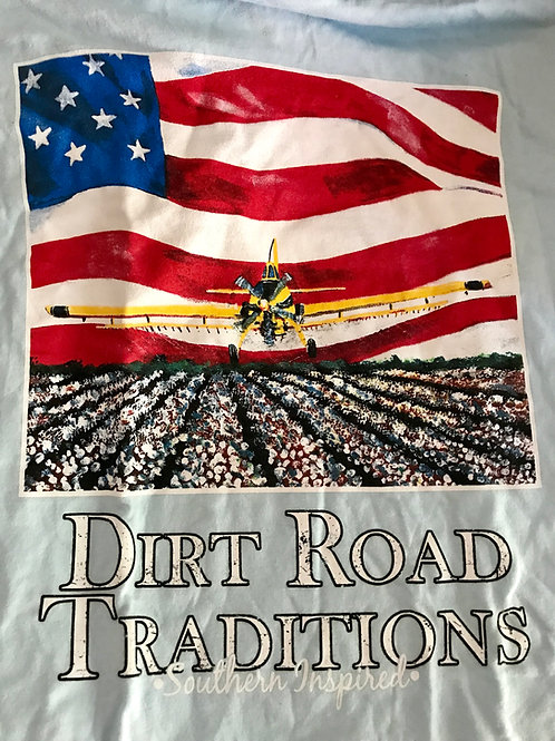 #1054 Adult Short Sleeve Crop-duster/Flag