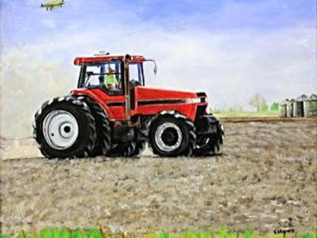 #3018 Red Tractor Print