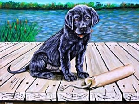 #3016 Lab Puppy on Dock Print