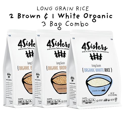 3 - 2 lb. Bags / 2 Organic Brown & 1 Organic White