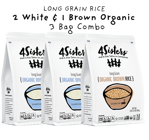 3 - 2 lb. Bags  / 2 Organic White & 1 Organic Brown