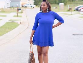 Royal Blue Mini Dress   White Heels   Louis Vuitton