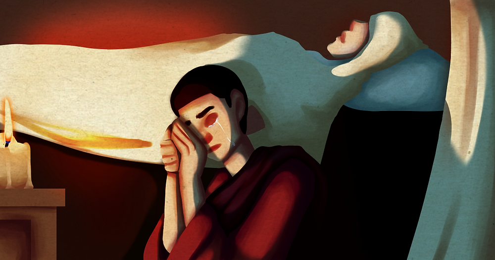 The winning digital art by a Grade 10 Thomasian features a remorseful Saint Augustine holding the hand of his dying mother, Saint Monica.