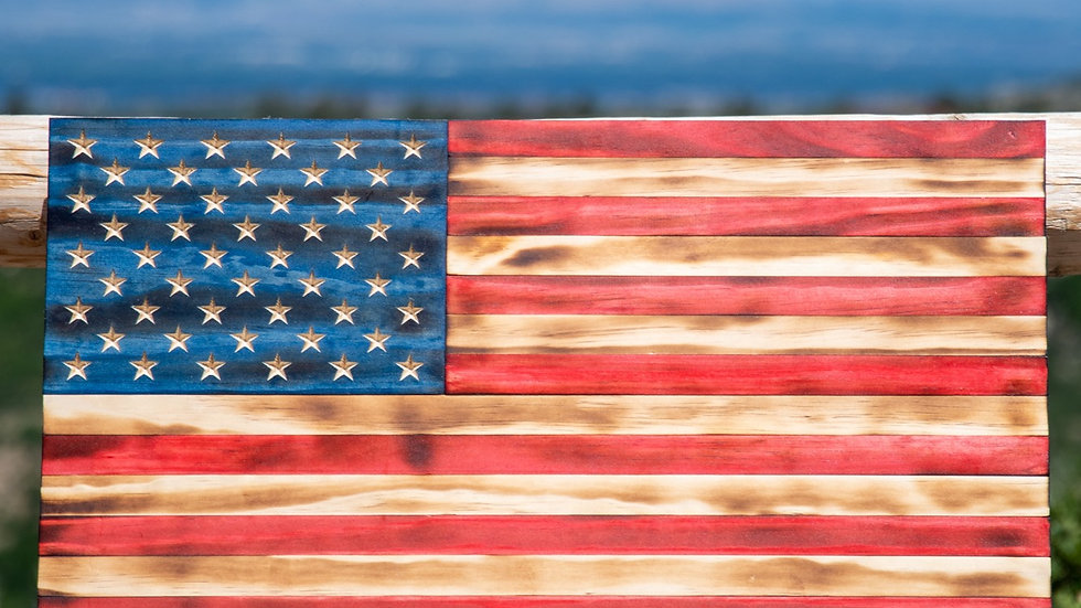 "Rustic Wooden American Flag - Customizable (13x24"")"