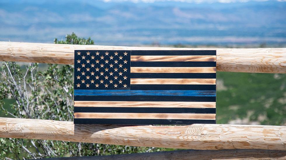 "Thin Blue Line, Rustic American Flag - Customizable (13x24"")"