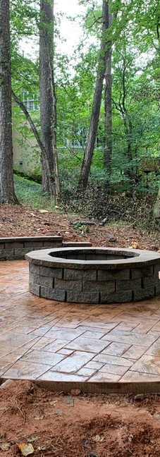 stamped concrete and firepit