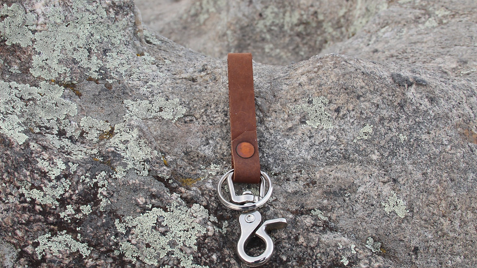 Key Fob -Brown w/copper rivet