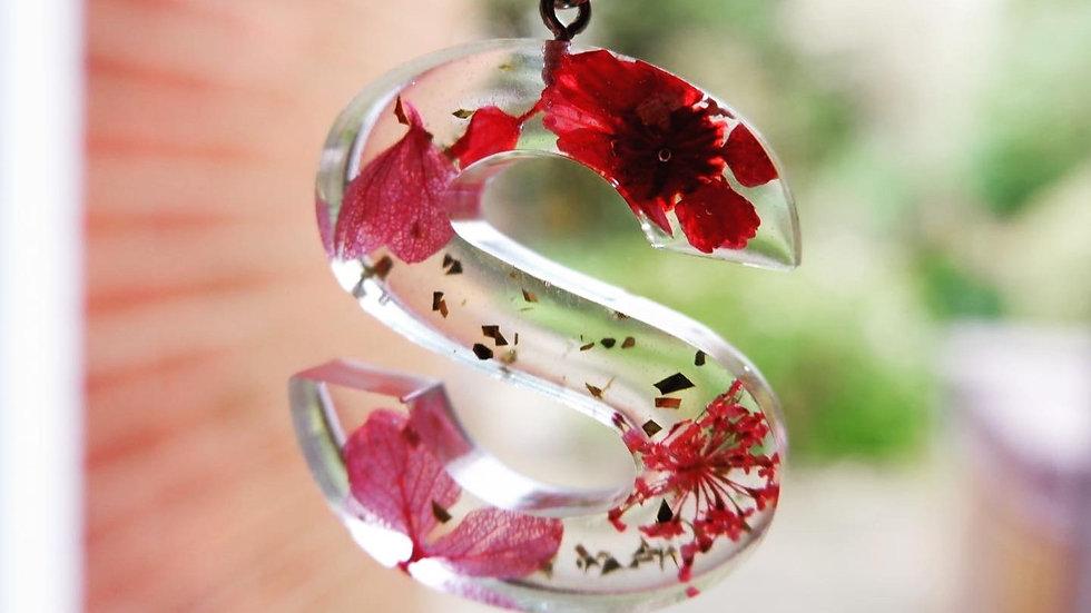 Letter Flower Glitter - Silver Chain