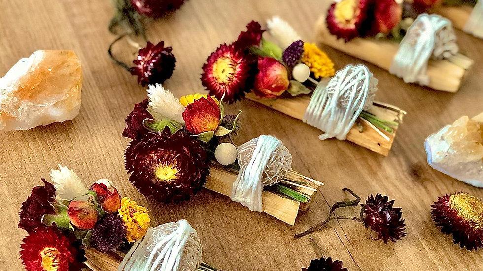 Altar Apothecary Palo Santo+Dried Florals+Crysal Bundle