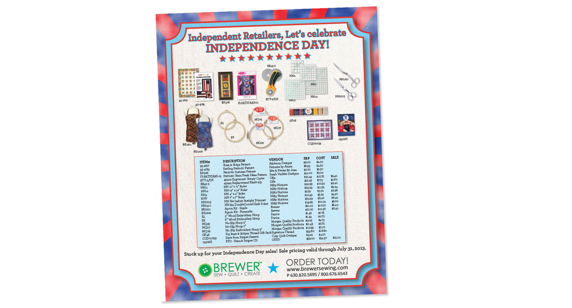 Brewer Sewing Sell Sheet