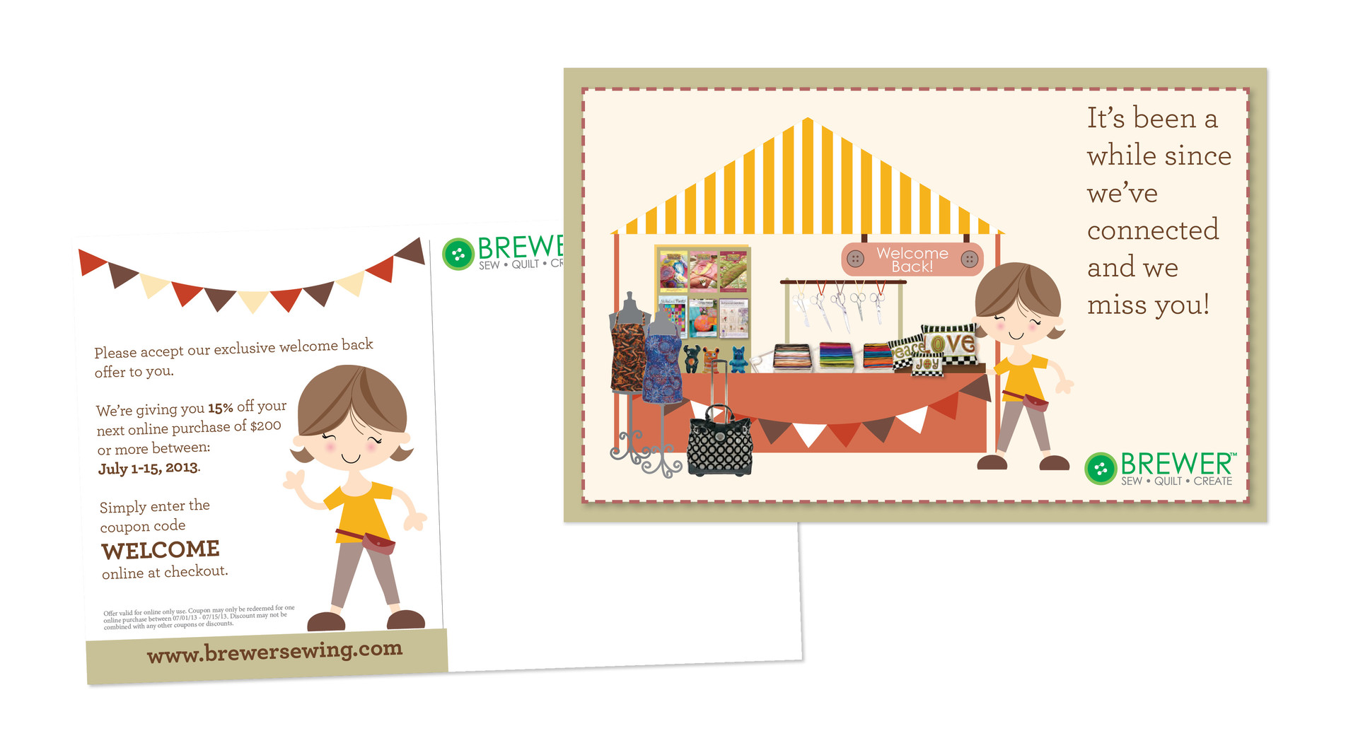 Brewer Sewing postcard