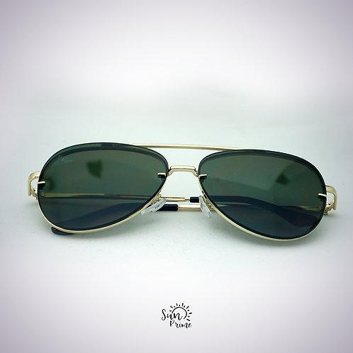 Óculos Sun prime Aviador Dourado e Preto
