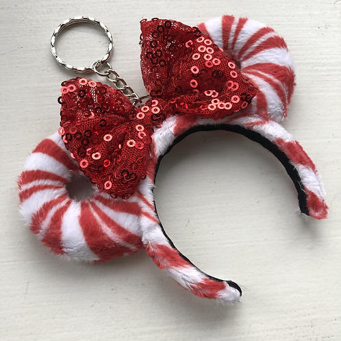 Red & White Candy Cane Mouse Ear Keyring