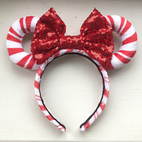 Red & White Candy Cane Mouse Ears
