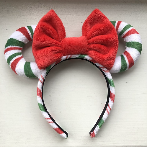 Green, Red & White Candy Cane Mouse Ears