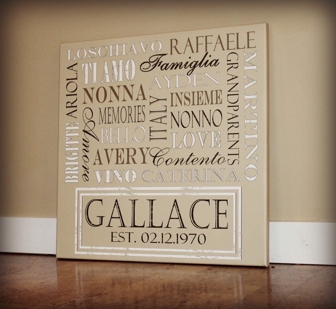 FAMILY WORDS CANVAS PRINT