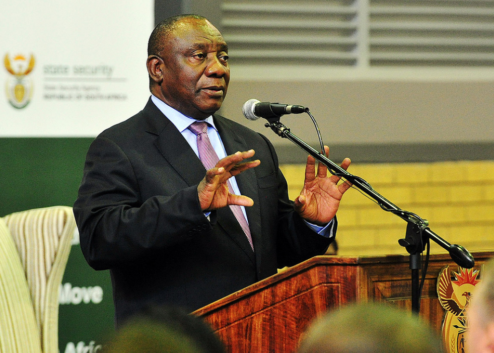 South African President Cyril Ramaphosa speaking at at the State Security Agency