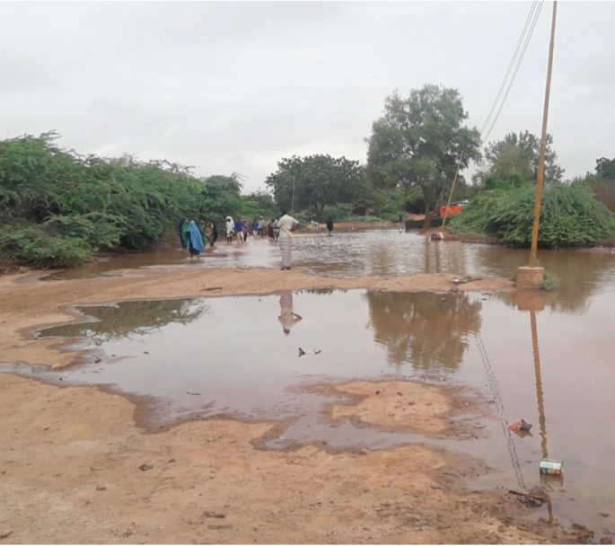 A village along the west bank of Juba River cut off by flooding in mid October 2019