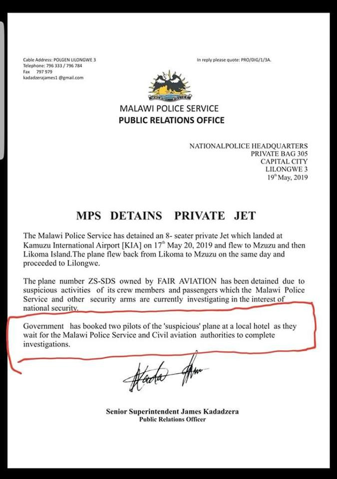 a press release confirming that a south african aircraft and crew have been detained in malawi ahead of the elections