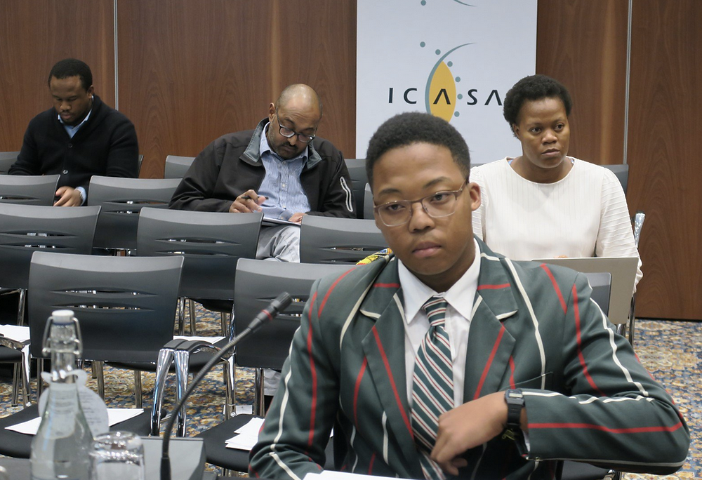 Sanda Mgedezi present his submission at the ICASA hearing on sport broadcasting regulations at the end of May