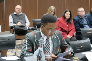 Sanda Mgedezi during his oral submission on sport broadcasting regulations at ICASA hearings