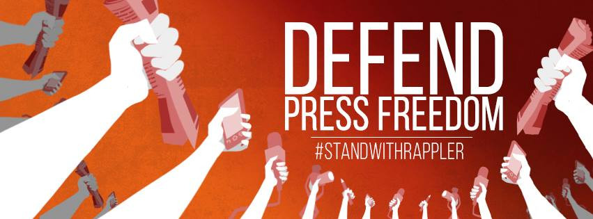 rappler banner to defend press freedom in facebook after maria ressa arrest