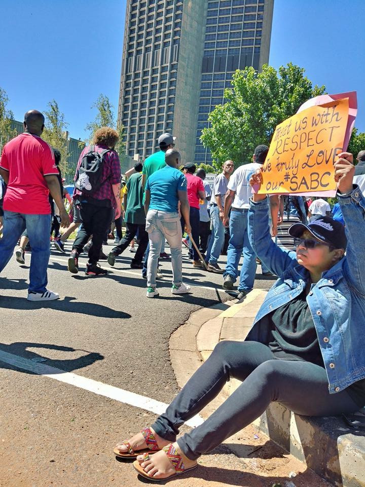 executive producer of Safm current affairs radio shows Krivani Pillay protests outside the public broadcasters offices in Auckland Park, Johannesburg