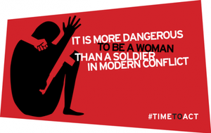 the logo for the 2014 gender summit in london used the #timetoact to help end rape in conflict