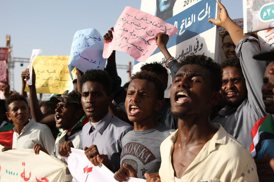 sudanese protesters gather outside the army headquarters in Khartoum.