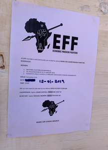 EFF poster in Alexandra township before elections May 8 2019