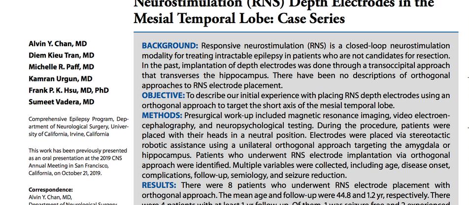 Robotic Orthogonal Implantation of Responsive Neurostimulation (RNS)