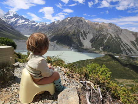 Pottying baby while travelling or hiking. Tips, tricks and hacks.
