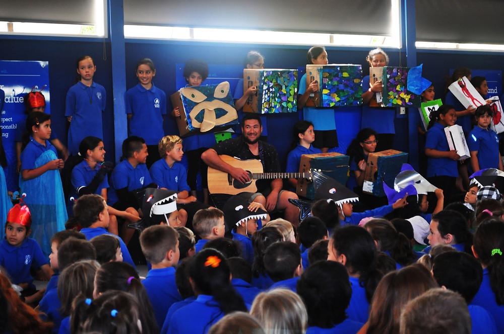 Kopukairoa the bilingual unit at Arataki School, Mount Maunganui perform Row, row, row your waka, November 2016