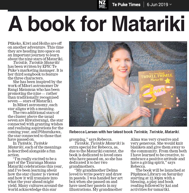 Newspaper article about Rebecca Larsen's new book for Matariki