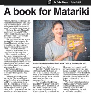 Newspaper article about Rebecca Larsen's new book for Matariki