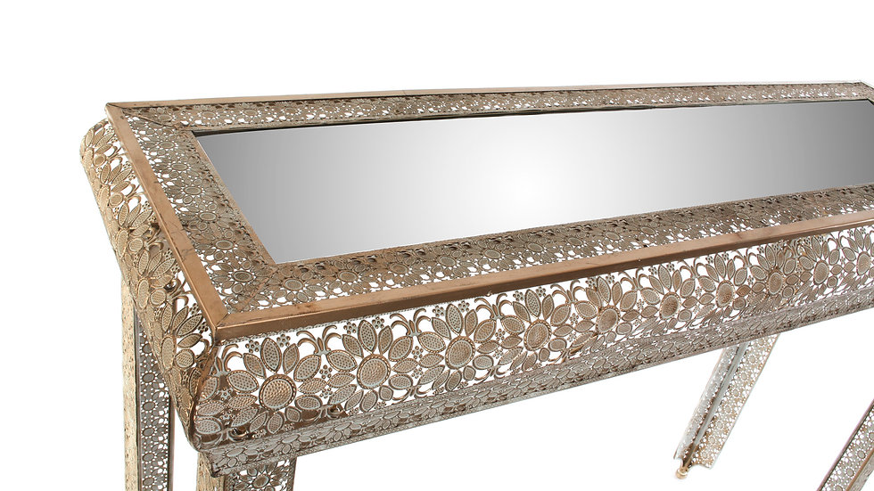Consola metal cristal flor etnico